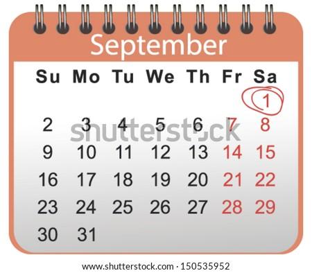 1 September  - stock vector