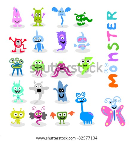 20 set cute monster vector - stock vector