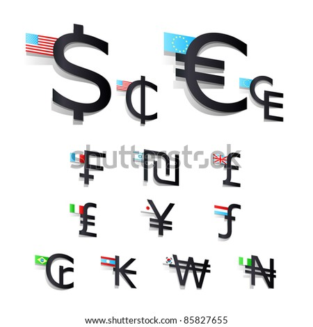 Set International Currency Symbols Flags Stock Photo Photo Vector