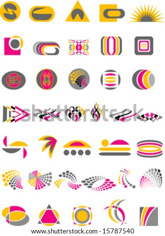 set logo elements, symbol , vector - stock vector