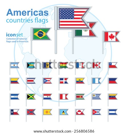 set of Americas flags, vector illustration - stock vector