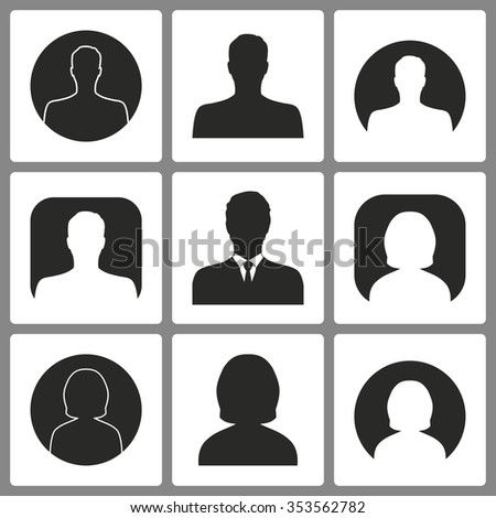 Set of black avatar  icons on white background for graphic design and Internet sites. Vector illustration.