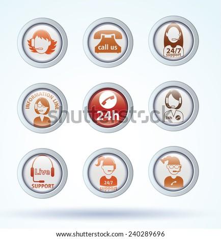 Set of call center operator icons. vector - stock vector
