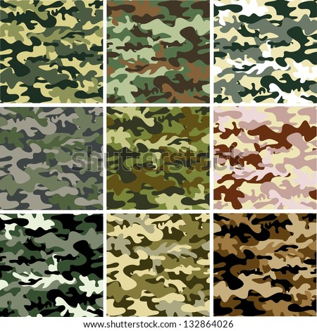 9 Set of camouflage pattern - stock vector