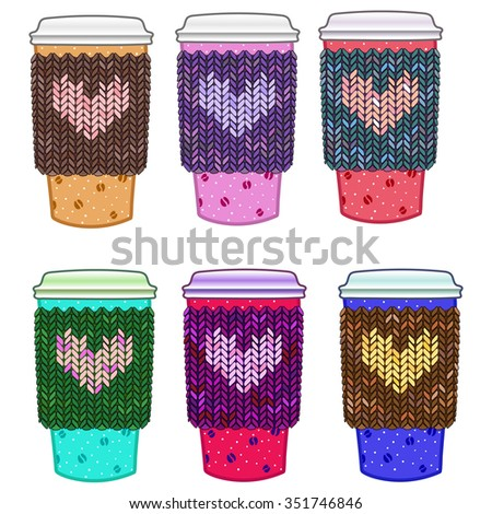 set of cartoon warm love cups in a knitted sweater decorated with hearts. Valentine's Day. - stock vector