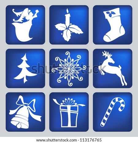 set of christmas icons silhouettes