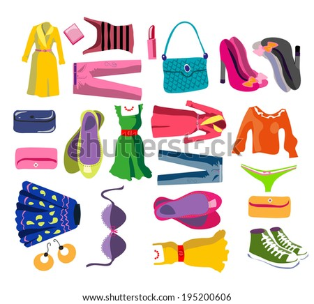set of clothes for women. Cartoon style. vector illustration - stock vector
