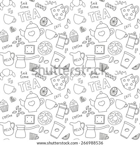 Set of coffee and tea doodle items - stock vector