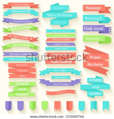 Set of colored ribbons sticker background concept. Vector illustration design with holidays text. Template for web and mobile with long shadow - stock vector
