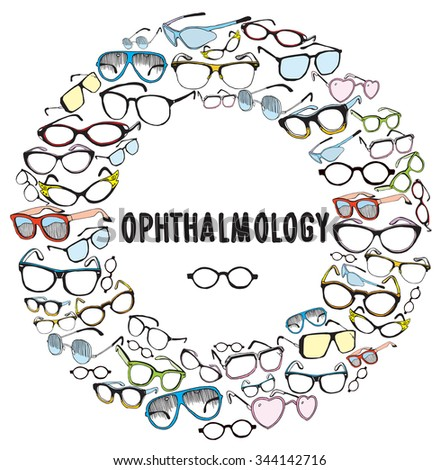 Set of Colorful Vintage and Modern Glasses. Ophthalmology - stock vector