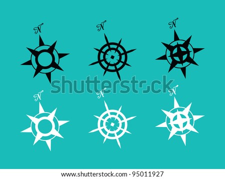 6 set of Compass Rose in Black and White. - stock vector