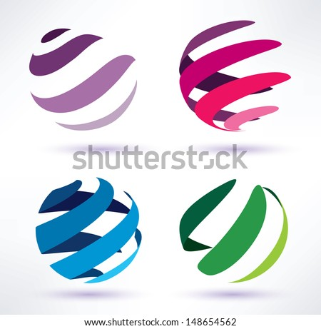 set of 3d  abstract globe icons - stock vector