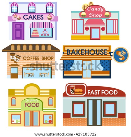 set of detailed flat design city public buildings. facade icons. Cakes, candy shop, coffee house,  bakery, organic food, fastfood. Vector - stock vector