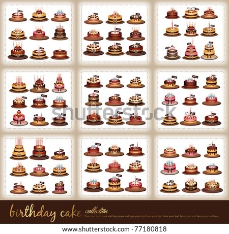 54 set of different birthday cake design - stock vector