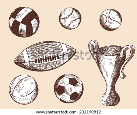 Set of different sketch balls. EPS 10 vector illustration without transparency.  - stock vector