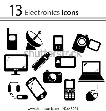 Set of electronics icons (vector)