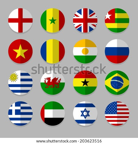 Set of Flags icon - stock vector