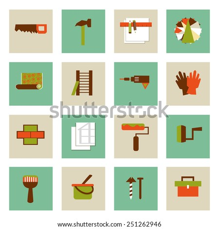 Set of  flat working tools icons. Repair their own hands. - stock vector