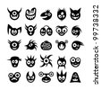 Set of funny monster icons. - stock vector