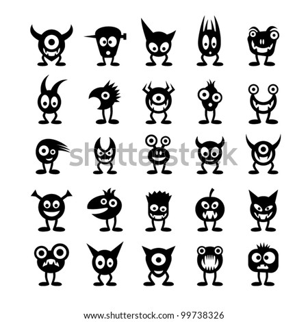 Set of funny monsters. - stock vector