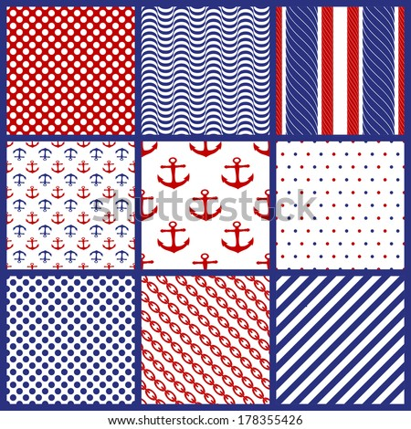 Set of  Geometric Patterns in Marine Style. Vector illustration - stock vector