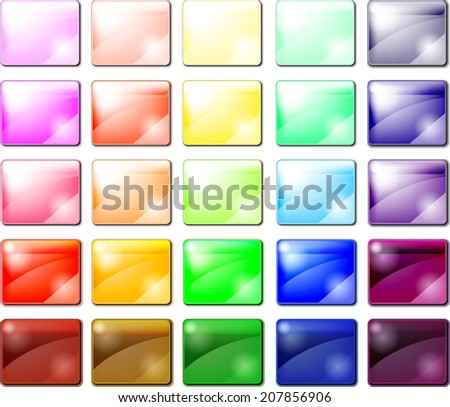 Set of glossy button icons - stock vector