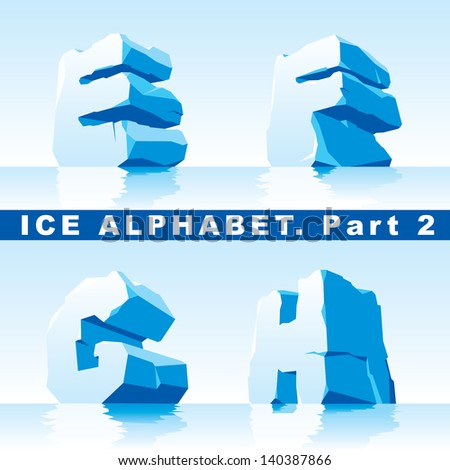 set of ice letters.  Part 2 - stock vector