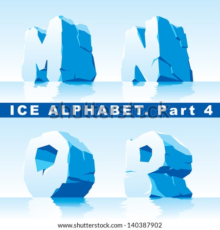 set of ice letters.  Part 4 - stock vector