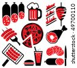 set of icons on the barbecue and eating. Vector icons in two colors - stock vector