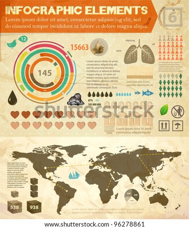 | Set of infographics elements | Old paper texture | Vintage style design |
