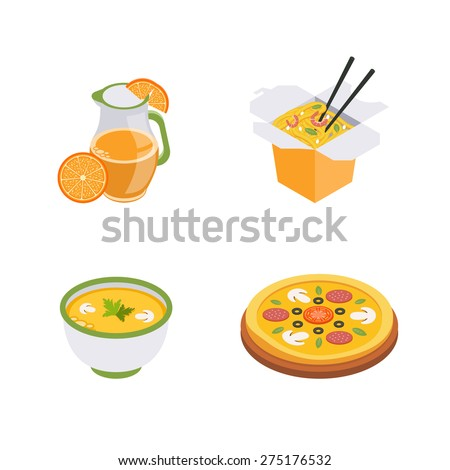 Set of  isometric food icons, fast food. Wok, pizza, juice and soup. - stock vector