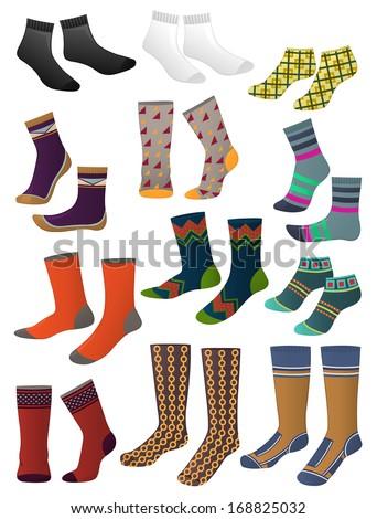 Set of men's socks isolated on white background - stock vector