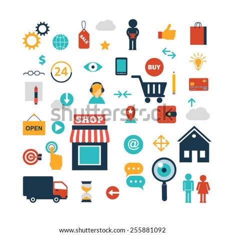 set of online shopping internet  infographic design elements ve - stock vector