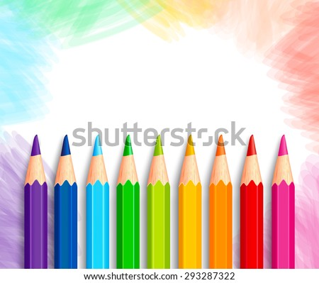Set of Realistic 3D Colorful Colored Pencils or Crayons in a Brushed White Background with Texture for Back to School with White Space for Message. Vector Illustration - stock vector