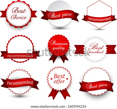 Set of red ribbons and award badges. Vector illustration.  - stock vector