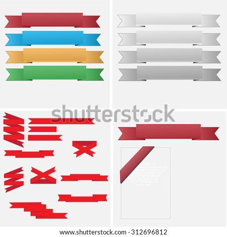 Set of retro ribbons and labels for design. - Illustration Banner, Placard, Ribbon, Award Ribbon, Vector  - stock vector