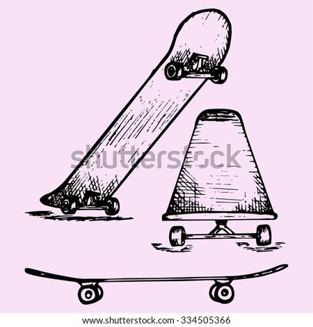 set of skateboard deck, doodle style, sketch illustration, hand drawn, vector - stock vector