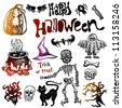 Set of sketchy Halloween icons, isolated on white - stock vector