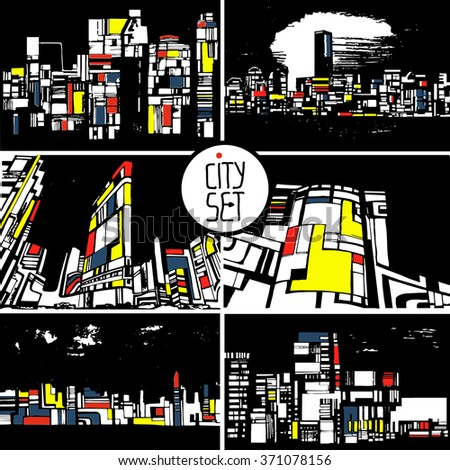 set of stylized city, architecture, silhouettes of buildings - stock vector