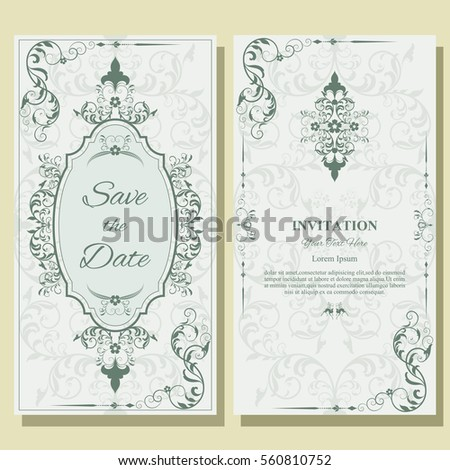 Set template greeting cards frame border stock vector 560810752 set of template for greeting cards frame border ornament and classic pattern m4hsunfo