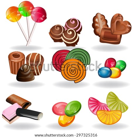 Set of various candy elements: chocolate, lollipops, fruit caramel and licorice candy - stock vector
