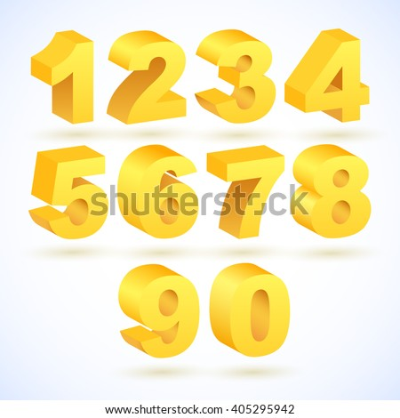 Set of vector numbers, from 1 to 0. Eps 10. - stock vector