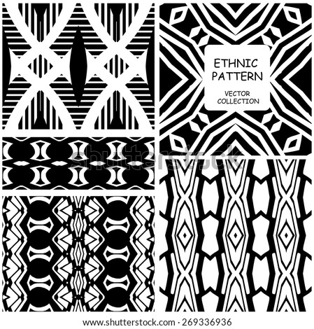 Set of Vector seamless ethnic patterns with american indian motifs in black and white colors. Aztec background. Textile print with  tribal ornament.  - stock vector