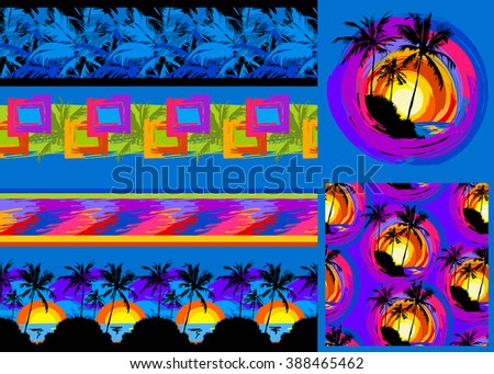 set of vector tropical isolated border, pattern and  illustration depicting black palm trees on a background of sea sunset  on a blue background - stock vector