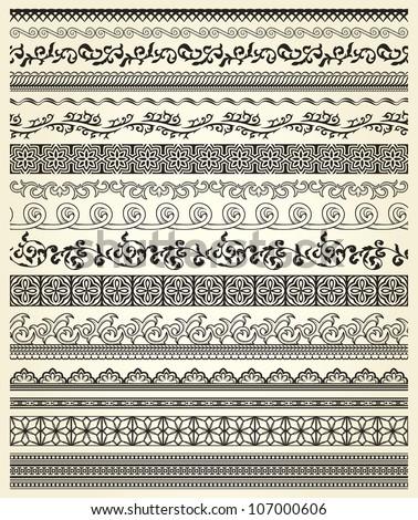 Set of vintage lines on beige background - stock vector