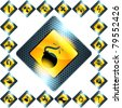 Set of 21 yellow hazard signs (eps10); jpg version also available - stock photo
