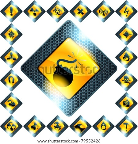 Set of 21 yellow hazard signs (eps10); jpg version also available - stock vector