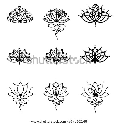 Set Ornamental Lotus Flower Vector Illustrtation Stock Vector 567552148 Shutterstock