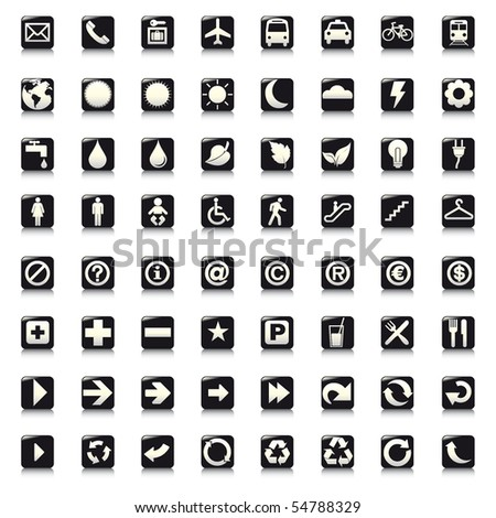 64 set presentation buttons icons symbol web eco. vector