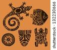 Seth animals.Fish, lizard, salamander, tortoise, mask, sun. African animals - stock vector